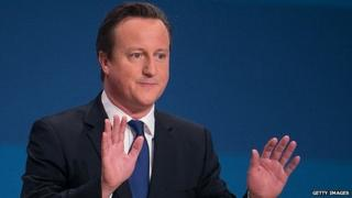David Cameron addressing the Conservative conference