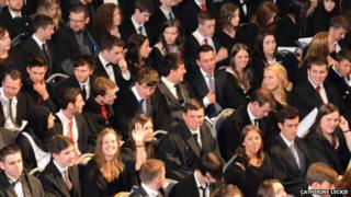 Our daughter Kirstin at her graduation ceremony from Glasgow University this week waving to mum and dad in the gallery #proudparents