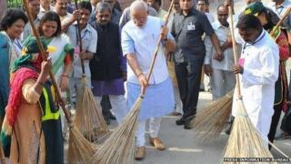 PM Modi wields the broom