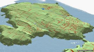 A 3D view of the prehistoric field systems (in red) overlying a terrain model generated from airborne laser scanning