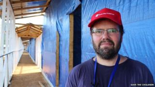 Mark Buttle of Save The Children at a new Ebola treatment centre in Sierra Leone