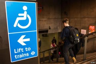 """Sign at top of Westminster tube station reads """"Lift to Trains"""""""