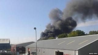 Smoke from Atlantic Trading Estate fire, Barry , Vale of Glamorgan