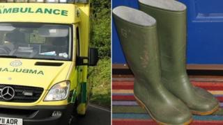 Ambulance and Wellington boots