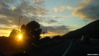 The M4 eastbound at Port Talbot