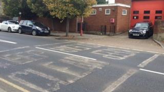 Road markings outside Radlett fire station