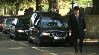 David Miller's funeral cortege outside Trinity church