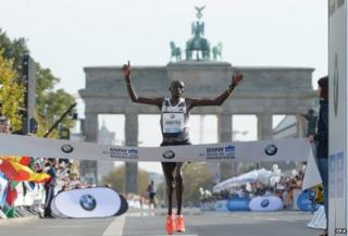 Dennis Kimetto at the Berlin finish line