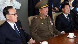 North Korean team (left to right): Kim Yang-gon, Hwang Pyong-so and Choe Ryong-hae in Incheon, South Korea