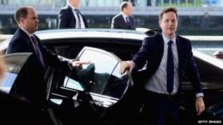 Deputy Prime Minister Nick Clegg arriving at the Liberal Democrat autumn conference