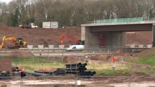 Building work for the motorway junction