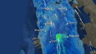 The Met Office has predicted heavy rain and strong winds over the island of Ireland within the next 24 hours
