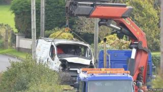 Five men were travelling in the van that crashed on the B5 Ballywalter to Greyabbey Road on Saturday night