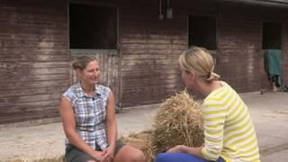 Dianne Oxberry speaks to a Cheshire resident about the HS2 proposals which will run through her farm