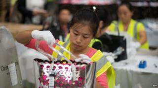 Worker in Chinese factory