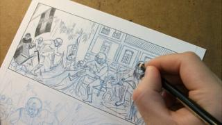 Artist Wauter Mannaert sketching a comic strip