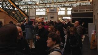 Crowds at Carlisle station