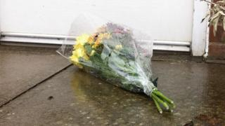 Flowers on a doorstep