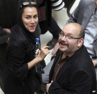 Yeganeh Salehi with husband Jason Rezaian on 11 April 2013
