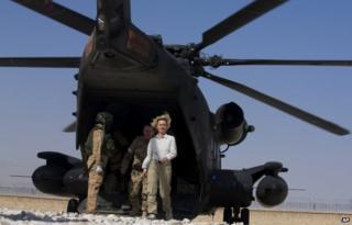 Ursula von der Leyen visiting Afghanistan in July 2014
