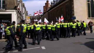A police line in Cambridge
