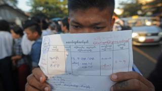 A man shows a letter of amnesty after he was released from Insein prison in Yangon on January 3, 2014