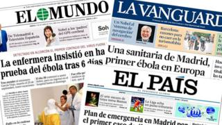Spanish newspaper front pages featuring headlines relating to the Ebola outbreak