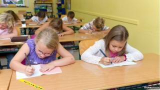 Children doing tests