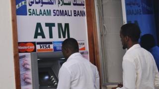 Cash withdrawal machine in Mogadishu, Somalia (7 October 2014)