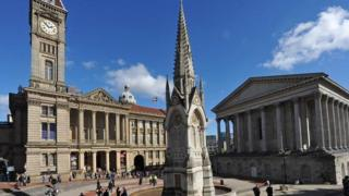 Birmingham City Museum and Art Gallery (left) and the Town Hall