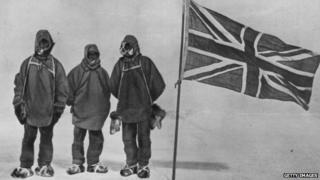 Sir Ernest Shackleton and two members of a Polar expedition team (1908)