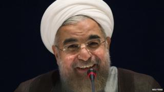 Iran's President Hassan Rouhani speaks during a news conference at the United Nations on 26 September 2014