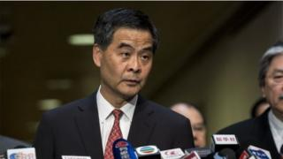 Hong Kong's Chief Executive CY Leung listens to a question at a press conference on political reform