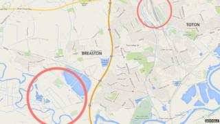 Google map showing Toton and Breaston