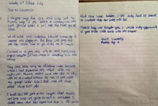 Letter from Maddy Snell to prime minister