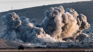 Air strike over Kobane