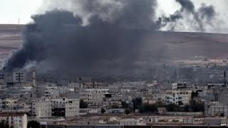 Smoke over Kobane. 9 Oct 2014