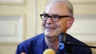 French writer Patrick Modiano gives a press conference in Paris,