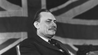 Enoch Powell in front of the Union flag in 1969