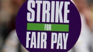"Unison sign saying ""strike for fair pay"""