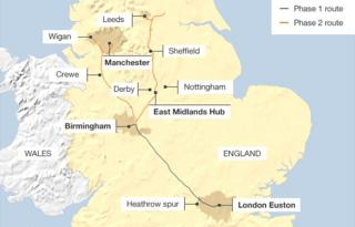 Map showing the route of phases 1 & 2 of the proposed HS2 rail service