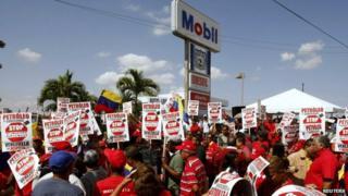 Venezuelan protestors outside an Exxon Mobil petrol station in 2008