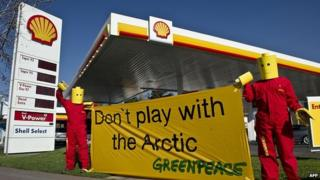 Greenpeace activists in Chile protesting against Shell's oil search in the Artic region
