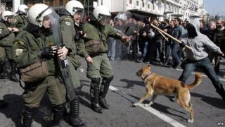 Loukanikos confronting riot police in Athens, 2011 - file pic
