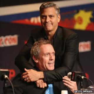 George Clooney with Hugh Laurie in New York