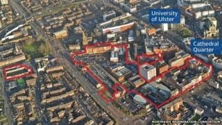An aerial view of the outline of the city centre site earmarked for development