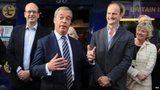Nigel Farage (c), Mark Reckless (l) and Douglas Carswell (r)