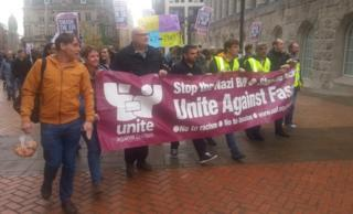 Unite Against Fascism counter-demonstration