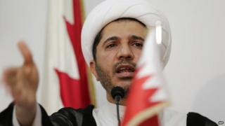 Sheik Ali Salman, leader of the main Shia opposition group Al-Wefaq, at a press conference in Manama, Bahrain, on 11 October 2014.