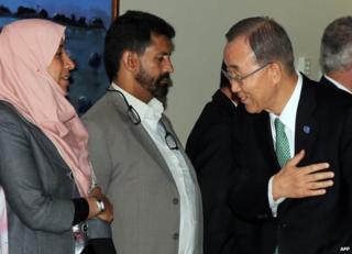 Ban Ki-Moon meets Libyan delegates in Tripoli, 11 October